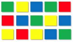 Say the following colours aloud row by row